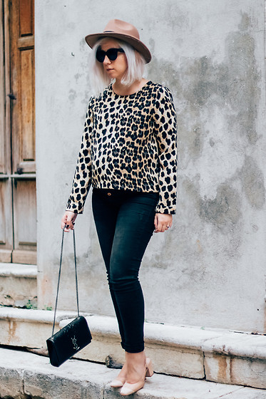 Jessica G - Zara Top, Saint Laurent Bag, Mango Heels - Leopard Trend // About-a-Girl.com