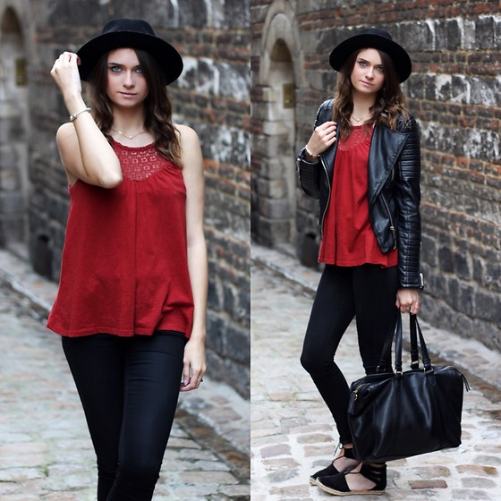 Audrey - Pimkie Top, Asos Jeans, Pimkie Hat, Monoprix Bag, Pimkie Shoes - Red & black