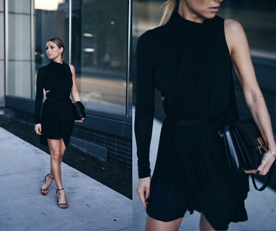 Jillian Lansky - Alexander Wang One Sleeve Draped Dress, Stuart Weitzman Ankle Strap Black Heels - How to look better in photos
