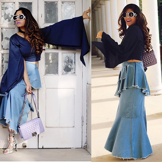 Surbhi Suri - Stalk Buy Love Blouse, Stalkbuylove Denim Skirt, Chanel Bag, Amiclubwear Sandals - As retro as can be