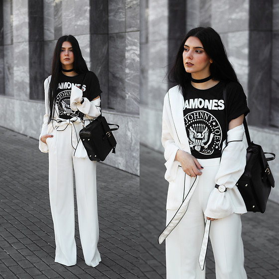 CLAUDIA Holynights - Na Kd Blazer, Vipme Backpack, Vipme Bag, Zara Trousers, Daniel Wellington Watch - Ramones