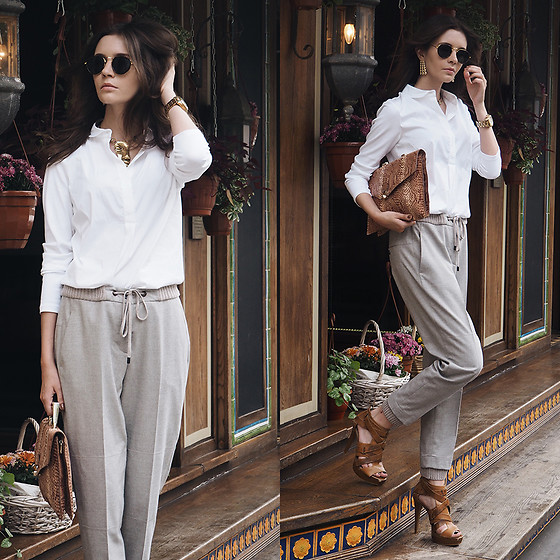 Anna Brain - Peserico Shirt, Peserico Pants, Oasap Necklace, Hindsight Vintage Sunglasses, Marc By Jacobs Watch - CASUAL WHITE COLLAR