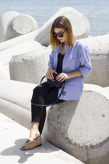 Frederica Ferreira - Primar Top, Zara Pants, Zara Bag, Pimkie Sunglasses - Daddy's Shirt