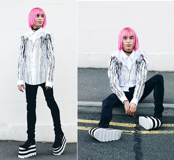 Milex X - Yru Platforms, Dr. Denim Jeans, Sammydress Shirt - PINK HAIR