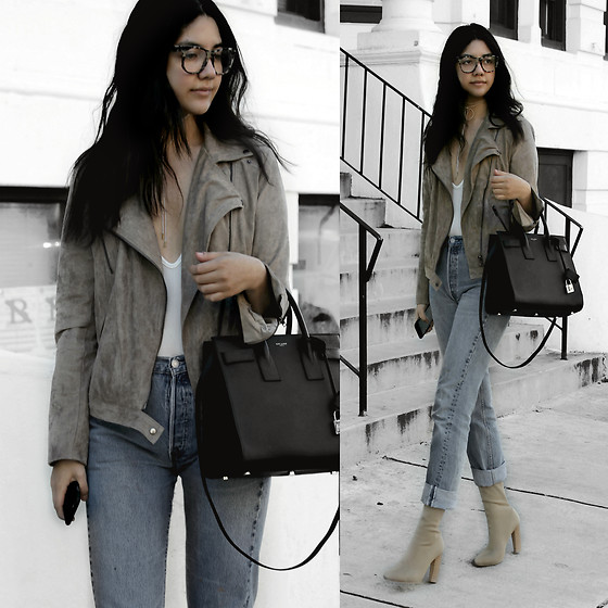 Florencia R - Necessary Clothing Suede Jacket, Saint Laurent Structured Bag, Levi's® Vintage 501 Jeans, Ego Sock Boots, Retro Super Future Tortoise Shell Sunglasses - Vintage denim & suede