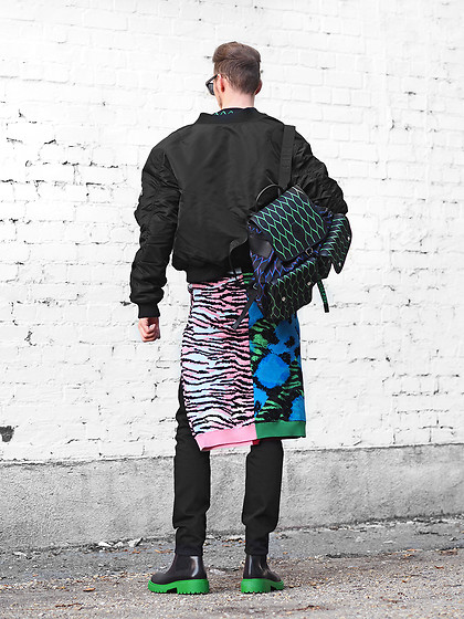 Chaby H. - Kenzoxhm Reversible Bomber Jacket, Kenzoxhm Sweater, Kenzoxhm Boots With Green Sole, Kenzoxhm Backpack - Urban jungle II. -  KENZOxHM