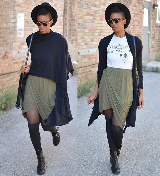 Sushanna M. - Zerouv Retro Gold Gilded Flip Sunglasses, Zombie T Shirt, Thrifted High Waisted Olive Green Maxi Skirt, Black Buckled Zippered Ankle Boots - Safety First