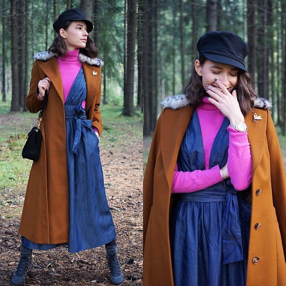 Liza Odinokikh - Liza Odinokikh Coat, Liza Odinokikh Dress, Benetton Turtleneck, Salvatore Ferragamo Bag, Liza Odinokikh Hat, Massimo Rene Shoes - Love my denim dress