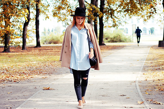 Marta S. - Black Hat, Sheinside Camel Coat, Gina Tricot Blue Long Shirt, Gamiss Black Bag, Romwe Ombre Jeans, Calvin Klein Beige Shoes - First autumn look