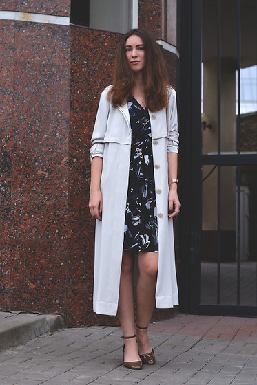Olga Dupakova - Mango Dress, Zara Shoes, Lindex Coat - Watercolor