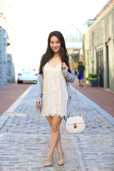 Kimberly Kong - Chaser Lace Mini Dress, Stitch Fix Nude Sandals, Chloe Drew Bag, Chaser Drape Cardigan - Feeling Fancy in Lace