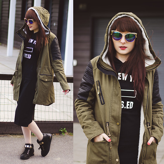 Wioletta M - Zaful Dress, V&K Boutique Coat, Cheapass Sunglasses Glasses - Hoodie Dress & Coat