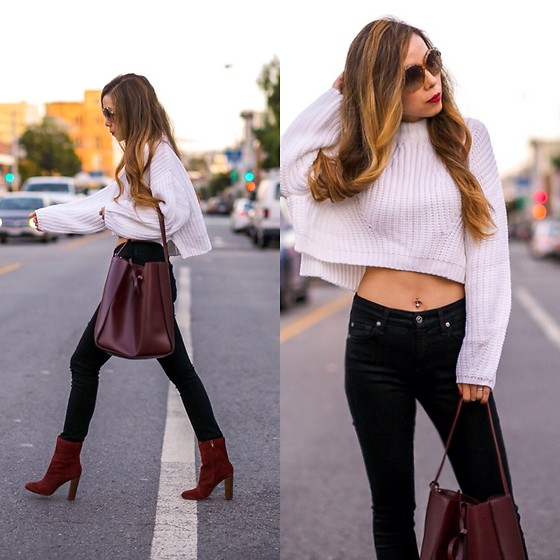Sasa Zoe - Only $24 Sweater, Less Than $65 Tote, Jeans, Boots, Sunglasses - BURGUNDY FALL