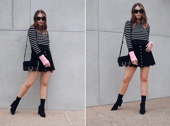 Taylor Smith - Zara Sweater, Vintage Suede Skirt, Chloe Faye Bag, Tony Bianco Boots - Pink Sleeves