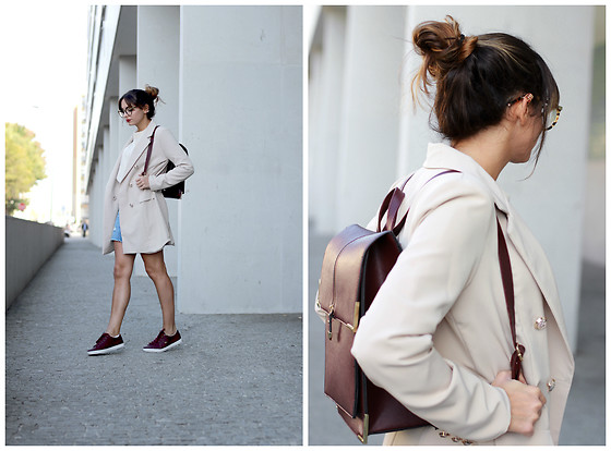 Bárbara Marques - My Kind Of Joy Shop Blazer, Zara Skirt, Lacoste Sneakers, Marc By Jacobs Glasses - Back to school