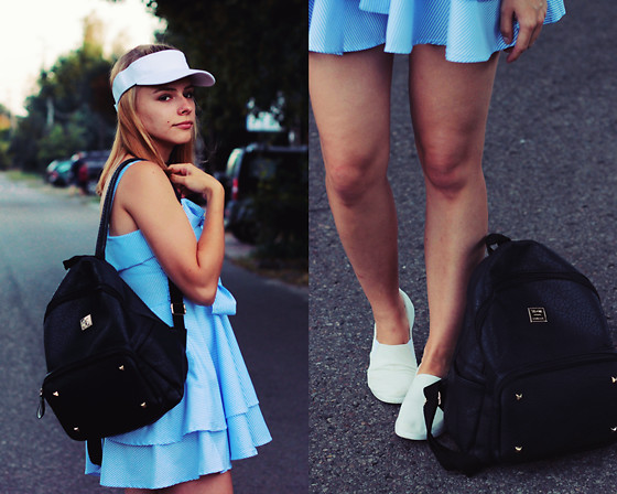 Marta S. - Gamiss Blue Dress, Sheinside Black Backpack, Mc Arthur White Material Shoes - Last summer look