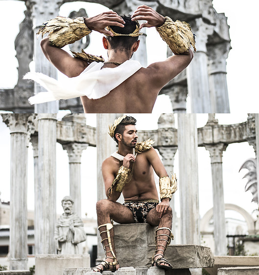 Bobby Raffin - Diy Golden Winged Gauntlet Cuffs, Diy Golden Olympian Crown, Custom Made Versace Inspired Briefs, Diy Gladiator Winged Sandals, Diy Golden Shoulder Armour, Piece Of Fabric - The Olympians