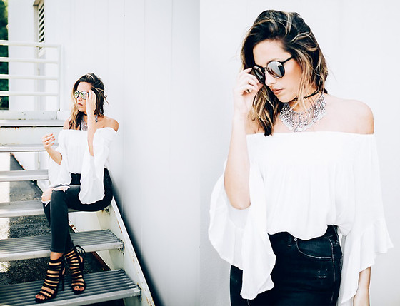 Jenna Boron - Sans Souci Off The Shoulder Top, Windsor Store Braided Strappy Heels, Forever 21 Statement Festival Necklace, Topshop Black Ripped Denim - Flowing in White