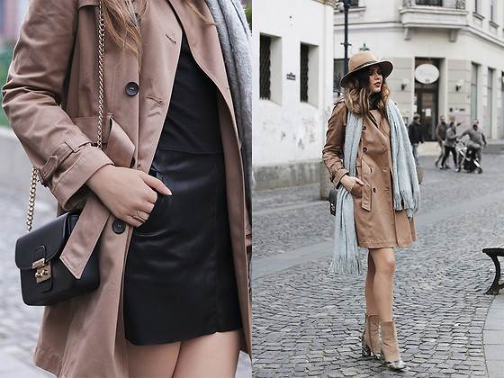 Diana Ior - Massimo Dutti Trench Coat, H&M Scarf, Asos Boots, Zara Leather Skirt, Stradivarius Hat - From Here