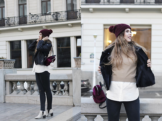 Diana Ior - Zara Jumper, Massimo Dutti Buttoned Shirt, Stradivarius Velvet Backpack, Missguided Boots, H&M Beanie - Stay Lost