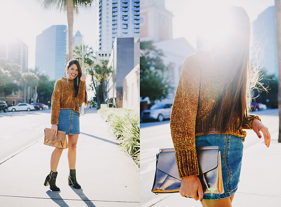 Nydia Enid - Zara Knitted Sweater, Zara Denim Skirts, Zara Bronze Clutch - Downtown // OOTD