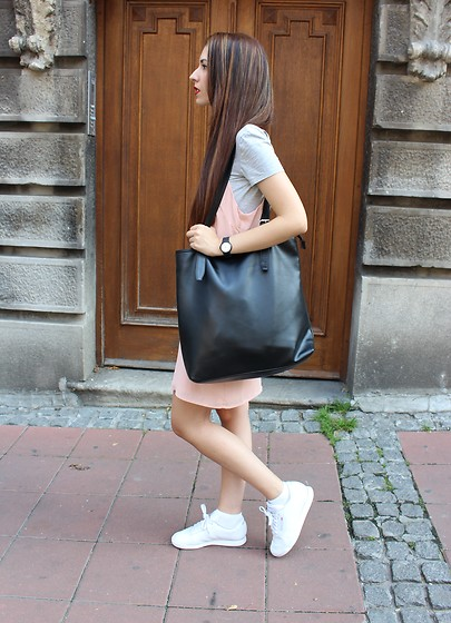 Jelena - Asos Slip Dress, Oasap Black Bag, Reebok White Sneakers, Terranova Gray Bodysuit - Slip dress