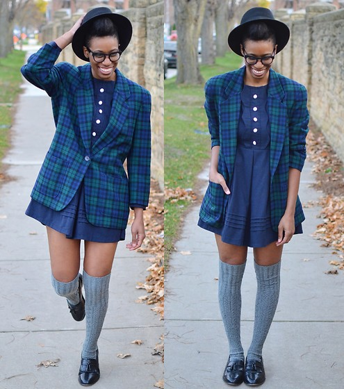 Sushanna M. - Thrifted Black Fedora, Thrifted Vintage Blue/Green Tartan Pendleton Blazer, Navy Vintage Style Dress, Grey Over The Knee Sweater Socks, Thrifted Vintage Men's Wingtip Tassel Loafers, Warby Parker Brown Tortoise Notched Key Hole Glasses - A Sunday Kind Of Love