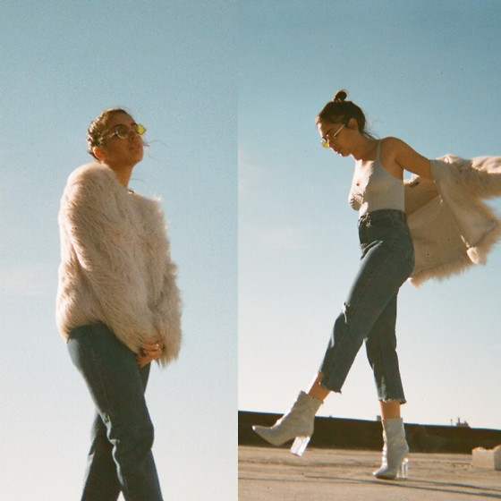 Shooka R - Ami Clubwear Jeans, Ami Clubwear Boots, Wearme Sunnies, Missguided Fur Jacket - Romanticizing tragedy