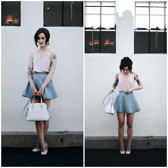Kiana Mc - Everlane Tank, American Apparel Skirt, Kate Spade Purse, Zara Heels - Pale Pink