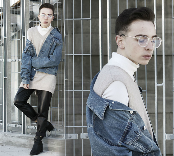 Paul Conrad Schneider - Tijn Glasses, Oak And Fort Turtleneck, Noul Vest, Acne Studios Jacket, Vintage Pants, Aldo Boots - All about denim?