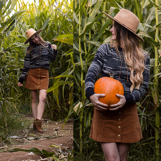 Shelly Stuckman - Corkys Footwear Arcadia Boots, White Crow Austin Corduroy Skirt, Kersh Sweater - Pumpkins & Corn Mazes