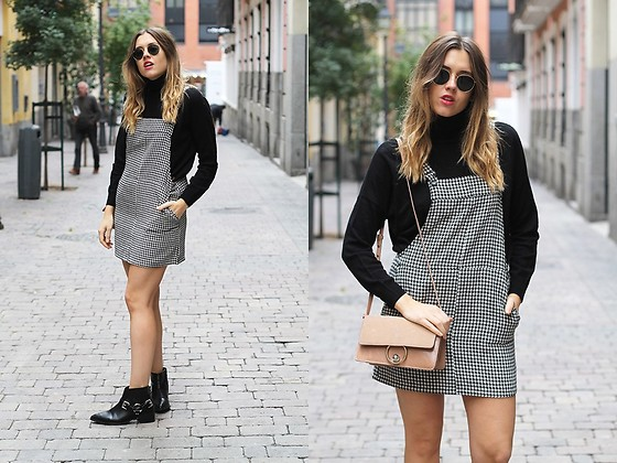 Amy Ramírez - Mango Pinafore Dress, Brownie Sweater - Houndstooth