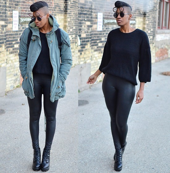 Sushanna M. - Zerouv Chrome Crosshair Sunglasses, Olive Hooded Parka, Thrifted Black Bell Sleeve Sweater, Thrifted Faux Leather Leggings, Thrifted Black Platform Ankle Boots - Street Hustle