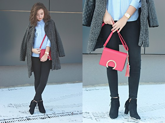 Sabina S. -  - STRIPED SHIRT and RED BAG