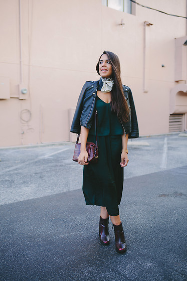 Nydia Enid - H&M Slip On Silk Dress, Zara Ankle Boots, Pacsun Faux Leather Jacket - Emerald Dress