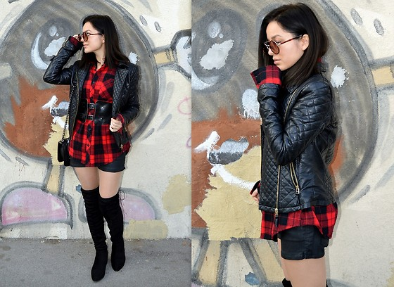 Marija M. - C&A Faux Leather Jacket, New Yorker Red Plaid Shirt, Terranova Black Wide Belt, Gamiss Over The Knee Boots - Put your belt on