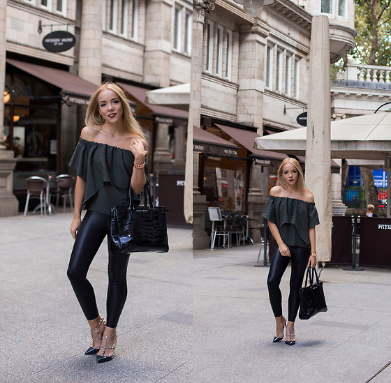 Silver Girl - Asos Off Shoulder Top, Valentino Rock Stud Heels, Asos Leather Pants, Giorgio Armani Leather Tote Bag - SICILIAN AVENUE