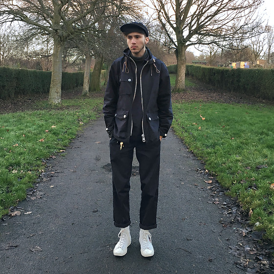 David Whitfield - Supreme Wool Cap, Nigel Cabourn Parka, Armor Lux Smock, American Apparel Roll Neck, Dickies Work Trousers, Converse Comme Des Garcons X - Navy Shade