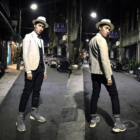 Vic Chan - Panama Hat, Blazer, Vest, Jeans, Adidas Tubular Doom - 2016.12.23 Friday night!