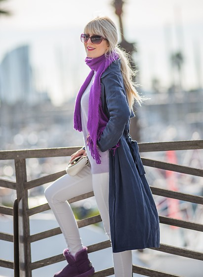 Tijana J.D - La Express Pink Sunglasses, H&M Purple Scarf, Tintoretto Navy Coat, Primark Lavender Sweater, Paco Martinez Little White Bag, H&M Skinny White Jeans, Holly Purple Boots - Ready, set, go!