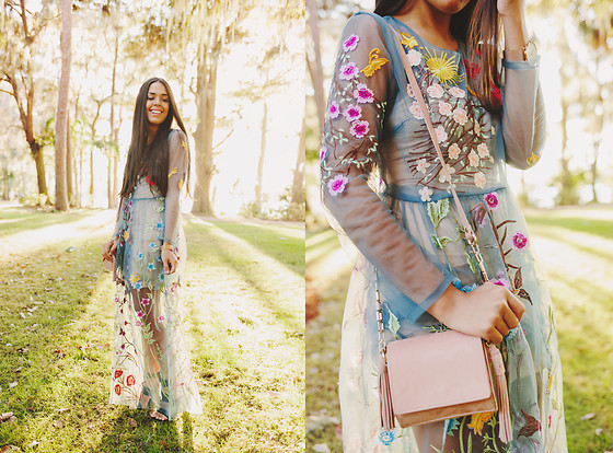Nydia Enid - Dezzal Embroidered Maxi Dress, Zara Fringed Bag - Embroidered Dress