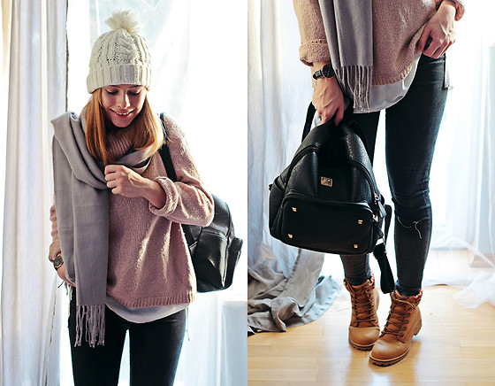 Marta S. - Tk Maxx Lilac Sweater, Romwe Grey Scarf, Black Bag, Romwe Black Slim Pants, Mc Arthur Brown Winter Shoes, White Cap, Daniel Wellington Black Watch - Winter time