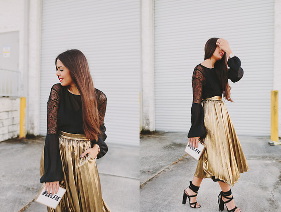 Nydia Enid - Dezzal Golden Pleated Skirt, Public Desire Black Heels, Zara Black Blouse - Stay Golden