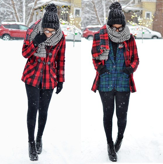 Sushanna M. - Reversible Plaid Blanket Scarf, Red Black Plaid Toggle Coat, Thrifted Vintage Blue Green Pendleton Blazer, High Waisted Black Leggings, Black Texting Gloves, Thrifted Black Platform Ankle Boots - Sibilance