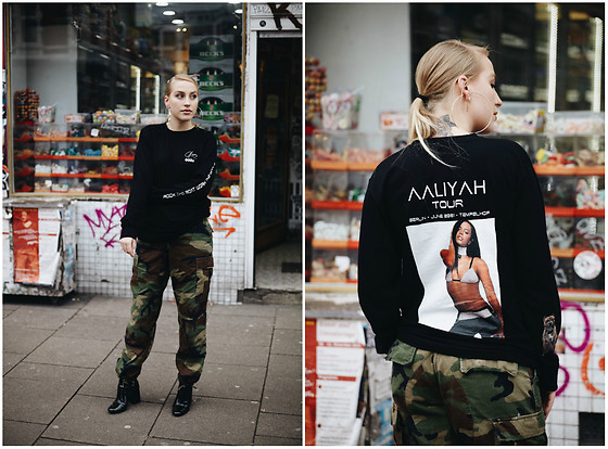 Fenna L - 032c Aaliyah Tribute Longsleeve, Vintage Army Cargo, Zara Sockboot Style - ~ Rock the boat, work the middle ~