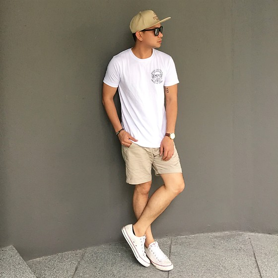DADA FAB - Cotton On Cap, Sunnies Shades, Zalora Singapore White Logo Shirt, Zalora Singapore Khaki Shorts, Converse Sneakers - Dreams never end