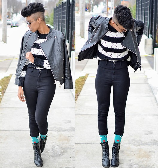 Sushanna M. - Thrifted Black Faux Leather Jacket, Black And White Striped Sweater, Black High Waisted Jeans, Black Buckled Zippered Ankle Boots - Heart Breaker, Soul Shaker