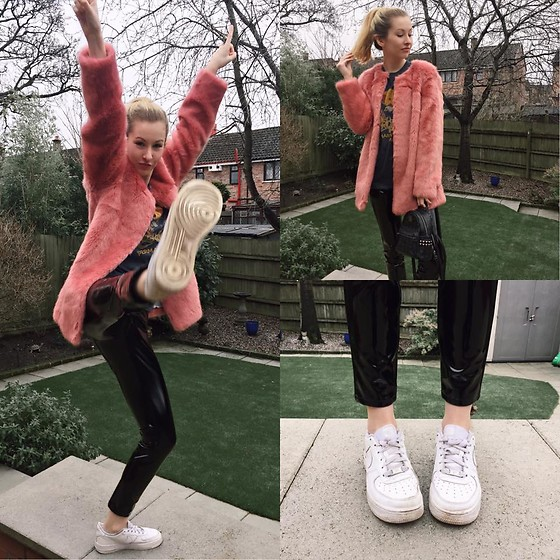 Bec Oakes - Cath Kidston Pink Faux Fur Coat, Vintage Aerosmith T Shirt, Topshop Vinyl Trousers, Nike Air Force 1s, Mcm Studded Mini Backpack - We Wear Pink on Thursdays Too
