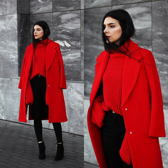 CLAUDIA Holynights - Vipme Red Coat, Shein Red Sweater, 4th & Reckless Boots, Vipme Coat - Red