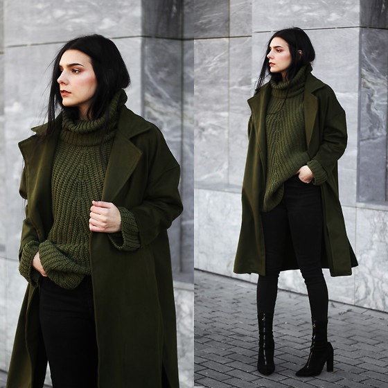 CLAUDIA Holynights - Shein Coat, Shein Sweater - Army green and black